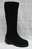 Черные замшевые зимние сапоги на низком ходу Miratini ., фото 1