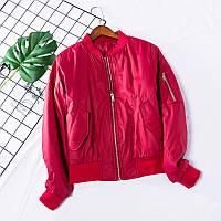 Бомбер теплый женский куртка демисезонная легкая короткая, цвет красный, размер