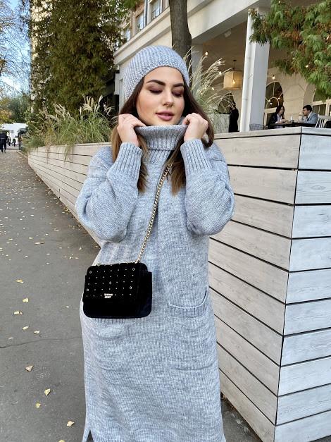 Теплое БАТАЛЬНОЕ вязаное платье под горло с 44 по 62 размер