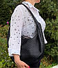 613-3 Натуральная кожа Объемная сумка женская бежевая Кожаная сумка-мешок Кофейная кожаная сумка на плечо хобо, фото 4