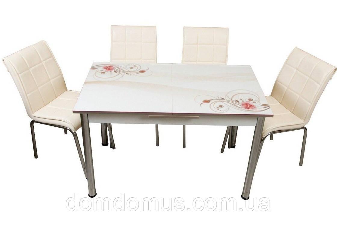 """Комплект обідній меблів """"Бежева троянда"""" (стіл ДСП, гартоване скло + 4 стільця) Лідер, Туреччина"""