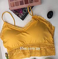 Топ, лиф цвет Желтый с кружевами, фото 1