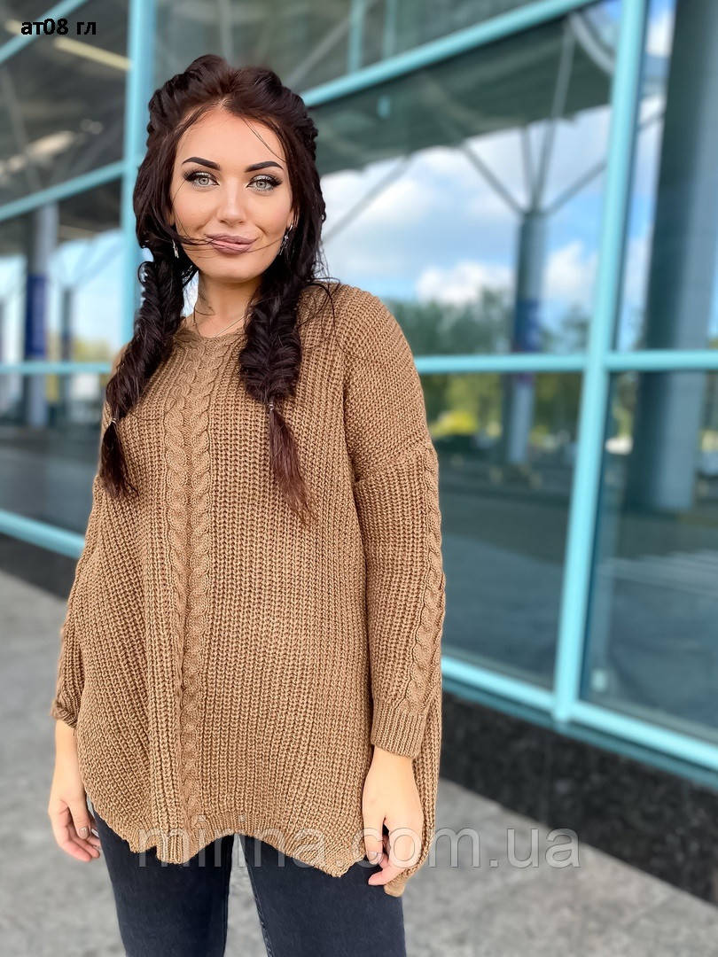 Стильний жіночий в'язаний светр ат08 гл