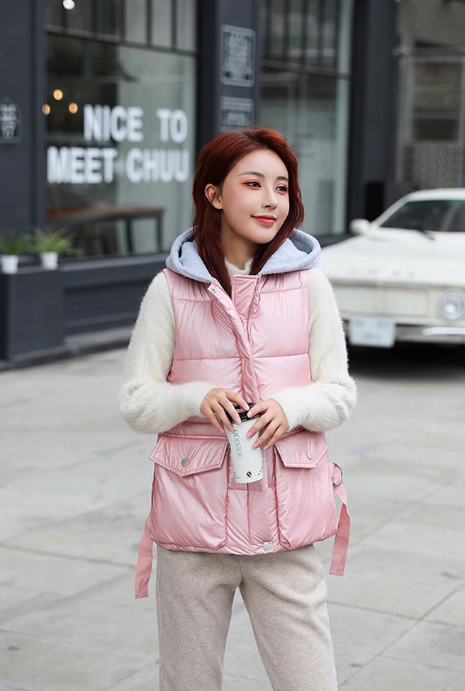 Женская жилетка безрукавка с капюшоном модные жилеты, цвет розовый металлик