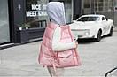 Женская жилетка безрукавка с капюшоном модные жилеты, цвет розовый металлик, фото 2