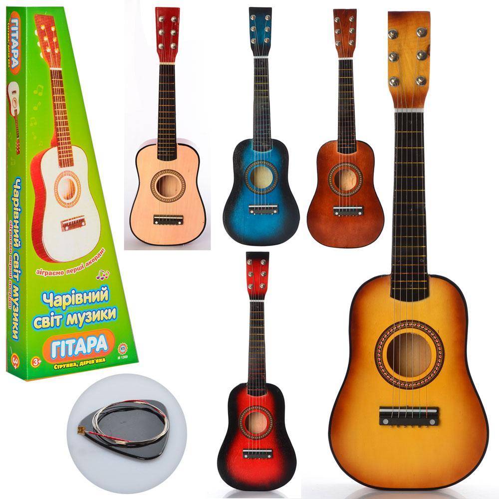 Игрушечная деревянная гитара (M 1369), 5 расцветок