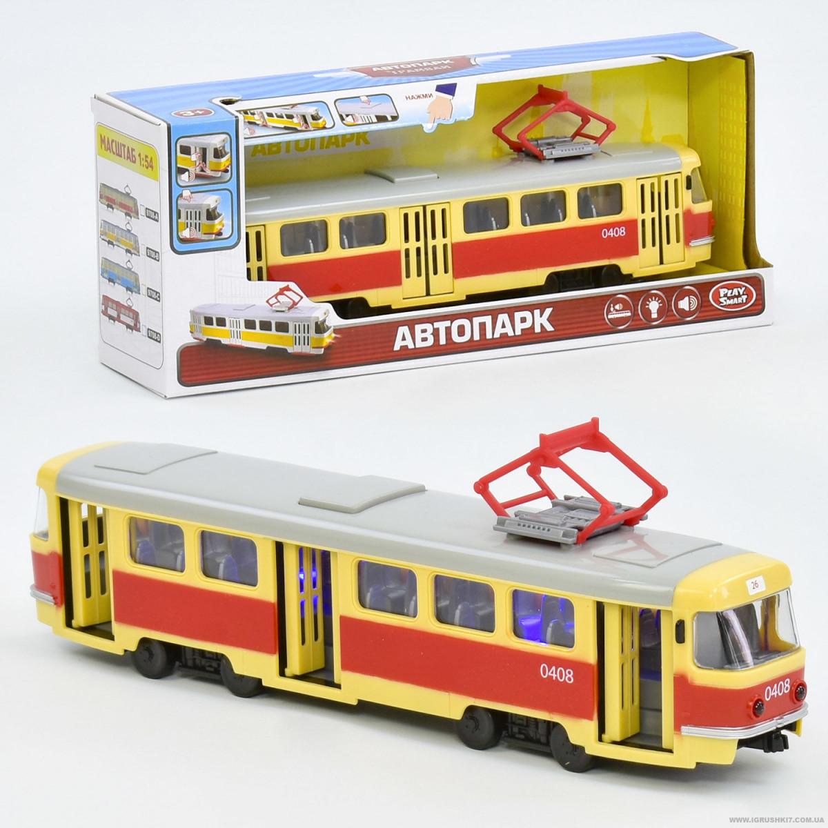 Игрушечный трамвай Play Smart Автопарк (9708 А) Tatra T3, с эффектами