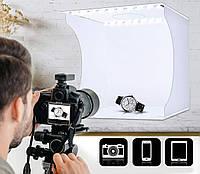 Світловий лайткуб (photobox) Puluz PU5022 з 2x LED підсвічуванням для предметної макрозйомки 24*23*22 см