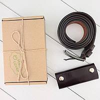 Подарочный набор №13 (коричневый): Ремень мужской + ключница