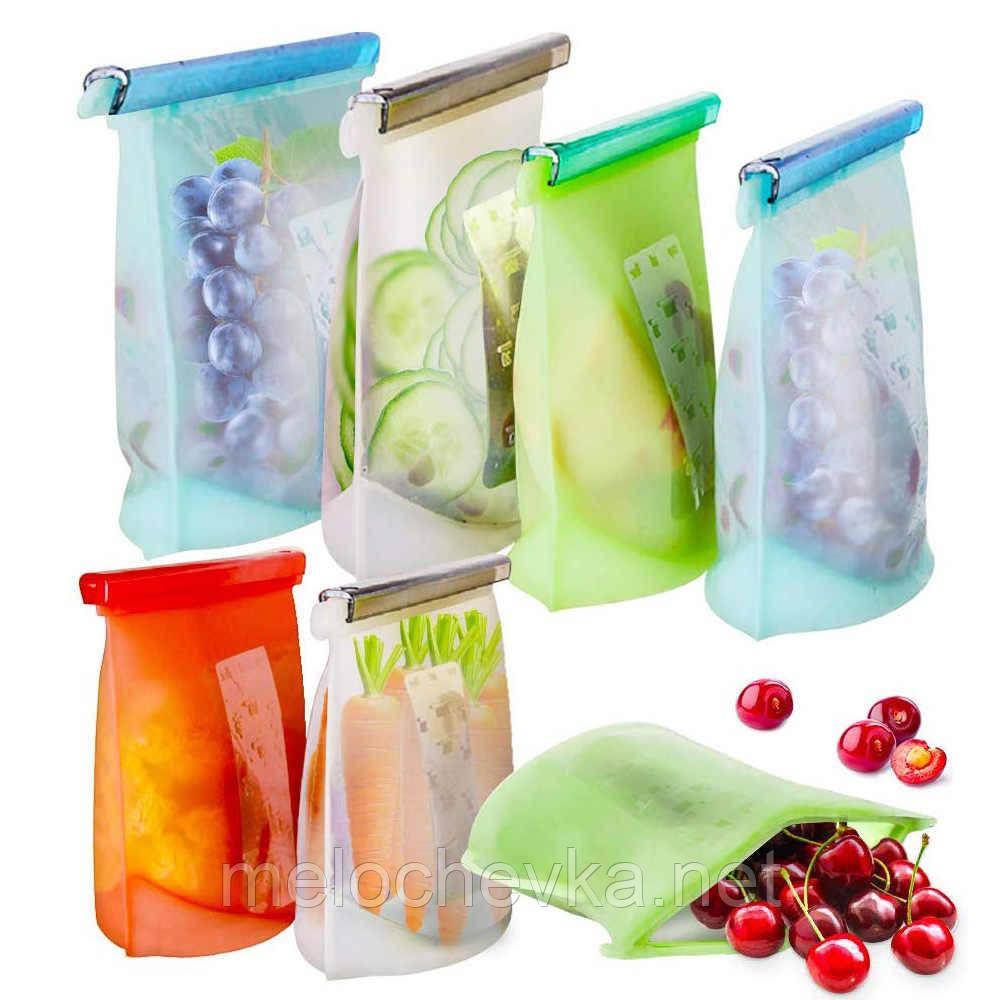 Многоразовый мешок силиконовый для хранения продуктов