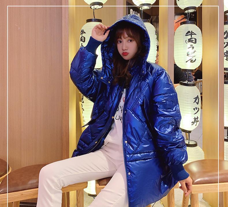 Зимняя куртка женская оверсайз молодежная пуховик синий металлик для девушек