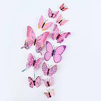 3D бабочки 12шт виниловые на стену нежно-розовые, 3Д, на магните + скотч. Объемное туловище+усики