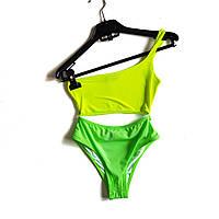 Купальник женский раздельный в зеленых тонах топ на одно плече и высокие трусики