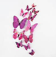 3D бабочки 12шт виниловые на стену фиолетовые, 3Д, на магните + скотч. Объемное туловище+усики