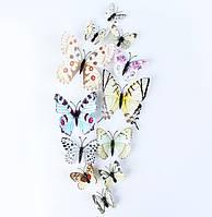 3D метелики 12шт вінілові на стіну в білому кольорі, 3Д, на магніті + скотч. Об'ємне тулуб+вусики