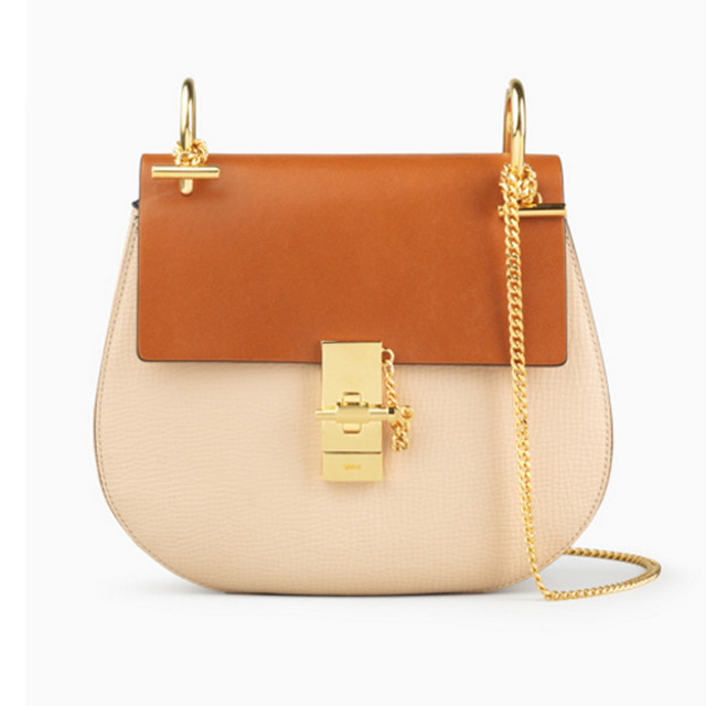 Chloe Drew bag in grained calfskin and nappa lambskin powder beige