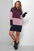 Теплое женское вязаное платье до колена триколор, фото 1