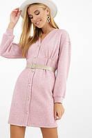 Розовое осеннее женское платье Ронни на длинный рукав, фото 1