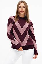 Женский вязаный свитер бордово-розового цвета