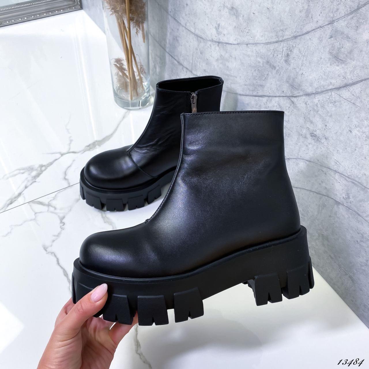 Женские ботинки кожаные Зима 13484