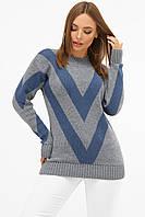 Женский теплый вязаный свитер серо-синего цвета, фото 1