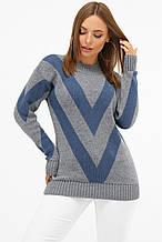 Женский теплый вязаный свитер серо-синего цвета