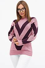 Женский вязаный свитер розово-фиолетового цвета