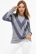 Женский вязаный свитер серого цвета
