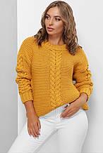 Женский вязаный свитер горчичного цвета