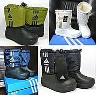 """Детские дутики """"Adidas"""". Утепленные мехом сапожки зимние демары, сапоги сноубутсы., фото 1"""