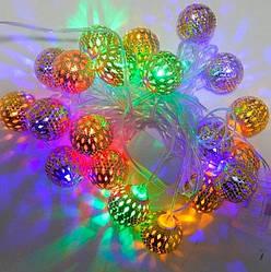 Новогодняя декоративная гирлянда светодиодная с металлическими шариками цвет. Праздничное освещение для дома