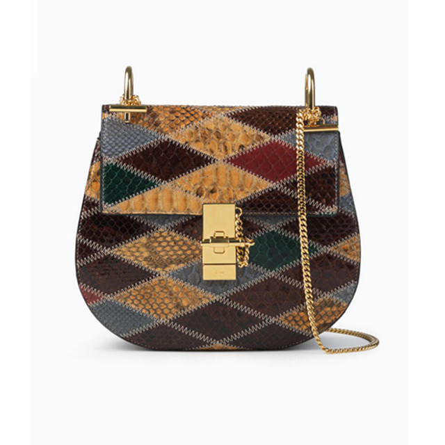 Chloe Drew bag in pythons patchwork multicolor