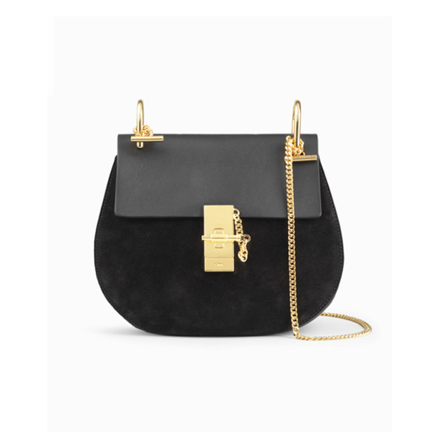 Chloe Drew bag in suede calfskin and smooth calfskin black