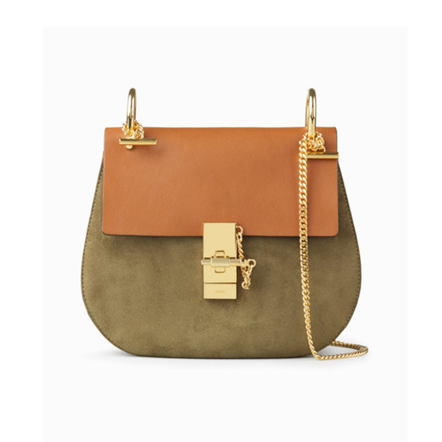 Chloe Drew bag in suede calfskin and smooth calfskin caramel