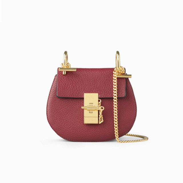 Chloe Drew nano bag in grained lambskin wine purple