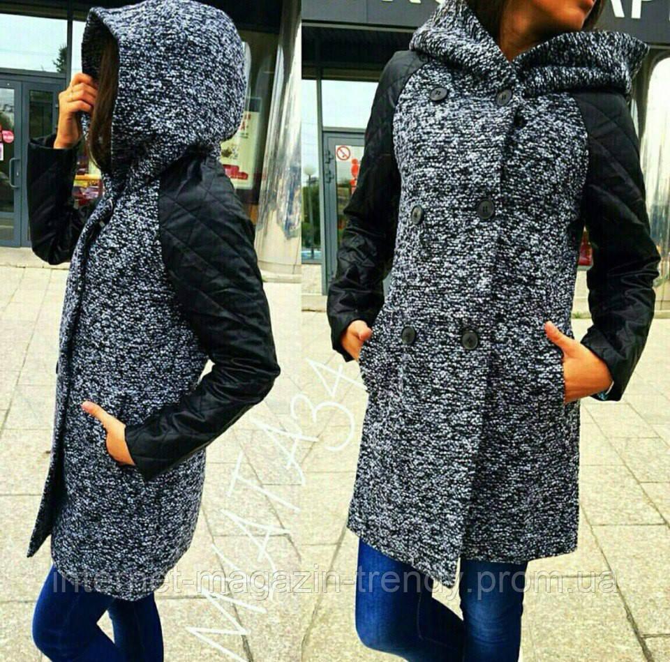 Пальто женское из твида и рукавами из экокожи 139