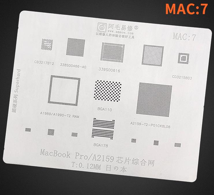 Трафарет BGA Amaoe для MacBook Pro/A2159 (CB3212B12,338S00466-A0,339S00616,CD3215B03) MAC:7 (0.12mm)