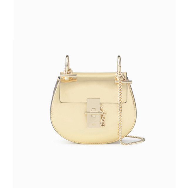 Chloe Drew small bag in metallized calfskin gold