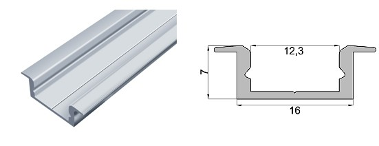 Алюмінієвий профіль ЛПВ7-AL  для світлодіодних стрічок 4598