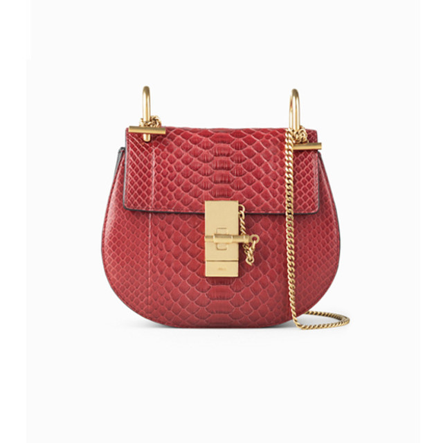Chloe Drew small bag in python and nappa lambskin