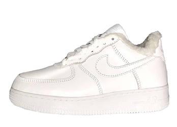 Мужские зимние кроссовки Nike Air Force 1 (Premium-class) белые с мехом