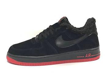 Мужские зимние кроссовки Nike Air Force 1 (Premium-class) черные с мехом