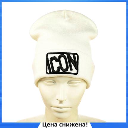 "Шапка ""ICON"" Белая - молодежная шапка-лопата с отворотом, фото 2"