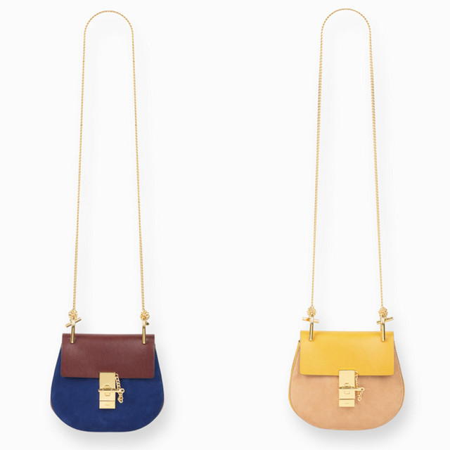 Chloe-Drew-mini-bag-in-suede-calfskin and nappa lambskin dark velvet and drew curry yellow mini bag