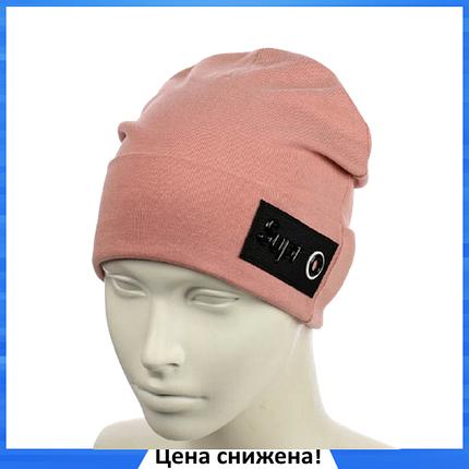 Женская шапка Supr Пудра - молодежная шапка-лопата с отворотом, фото 2