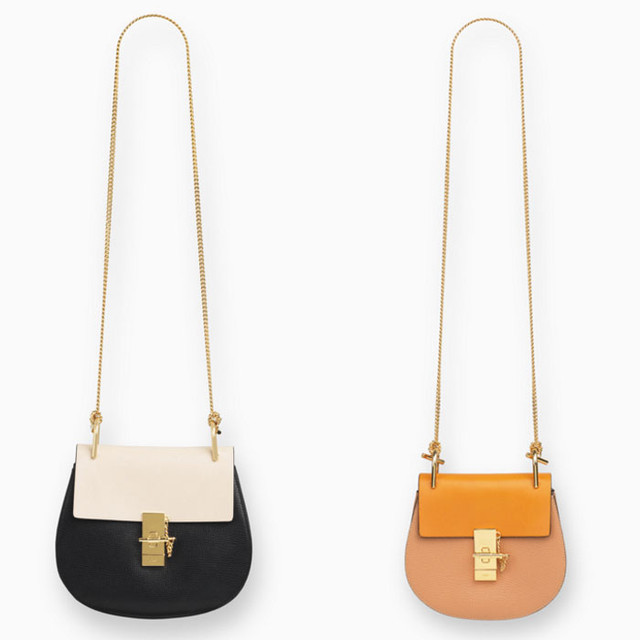Chloe Drew small bag in grained calfskin and nappa lambskin black and Drew small bag in grained calfskin and nappa lambskin wet sand