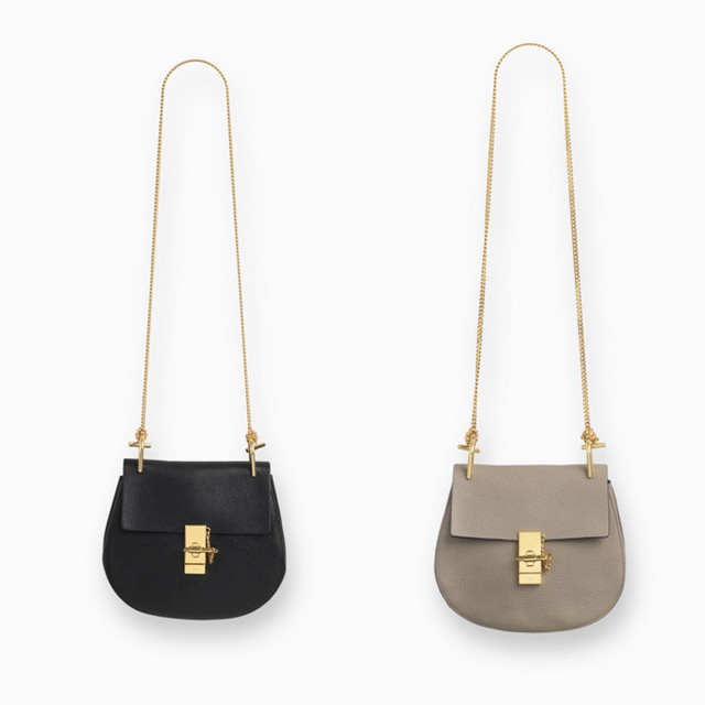 Chloe Drew small bag in grained leather black and Drew small bag in grained leather motty grey