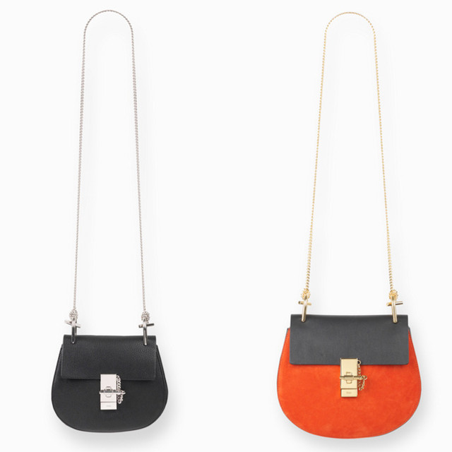 Chloe Drew small bag in grained leather black and drew small bag in suede calfskin and nappa lambskin plaid red