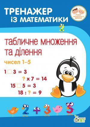 Тренажер із математики. Табличне множення та ділення чисел 1-5.