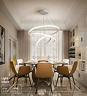 LED люстра подвес кольца с диммером, 150W MD7990-3AWH-800+600+400 dimmer, фото 1